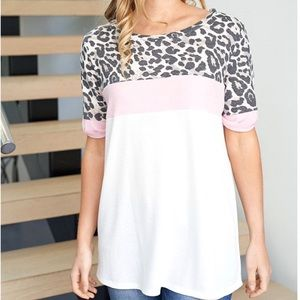 Leopard Print Oversized Waffle Knit Top